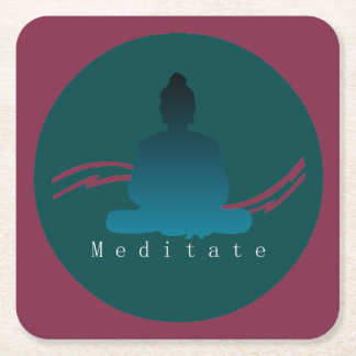 """Meditate"" Beautiful Buddha. Square Paper Coaster"