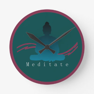 """Meditate"" Beautiful Buddha Wall Clock. Round Clock"