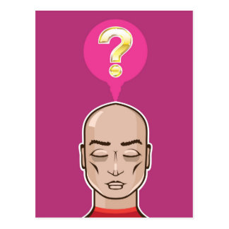 Meditate over a question postcard