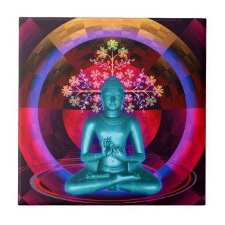 Meditating Blue Buddha Tile