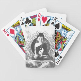 Meditating Buddha with Yin Yang Bicycle Playing Cards