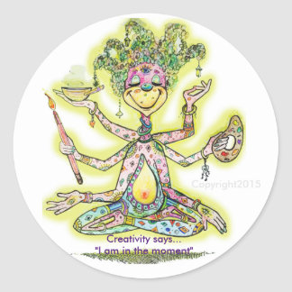 Meditating Creativity Classic Round Sticker