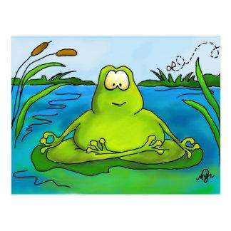 Meditating frog art print postcard