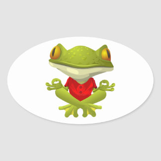 Meditating Frog in Red Shirt with Crossed Legs Oval Sticker