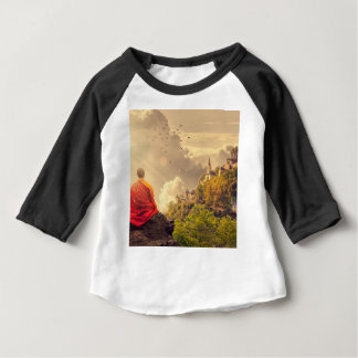 Meditating Monk Before Large Temple Baby T-Shirt
