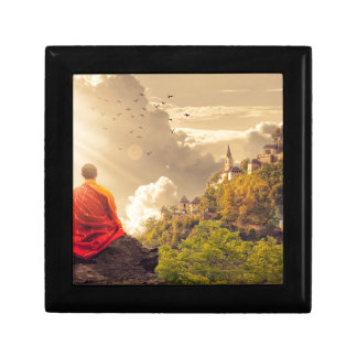 Meditating Monk Before Large Temple Gift Box