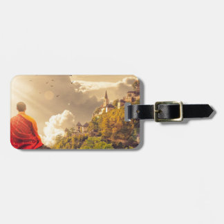 Meditating Monk Before Large Temple Luggage Tag