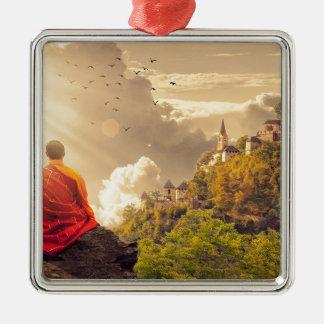 Meditating Monk Before Large Temple Metal Ornament