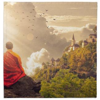 Meditating Monk Before Large Temple Napkin
