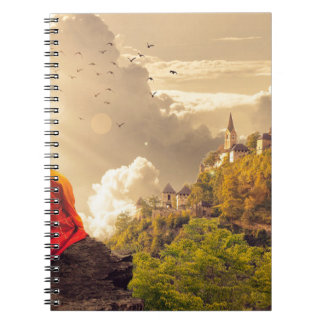Meditating Monk Before Large Temple Notebook