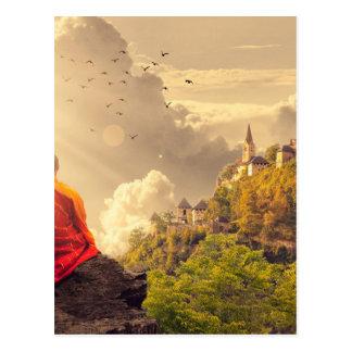 Meditating Monk Before Large Temple Postcard