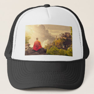 Meditating Monk Before Large Temple Trucker Hat
