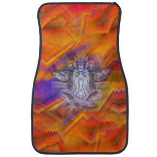 Meditating Owl Floating Rest Balance Art Car Mat