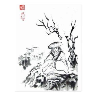 Meditating Samurai Postcard
