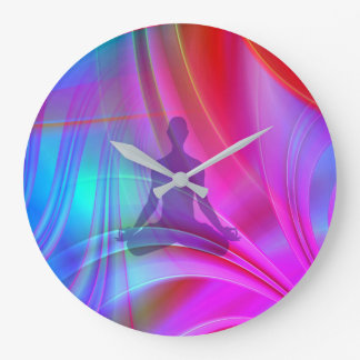 Meditating Shadow Large Clock