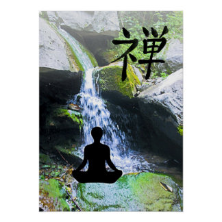 Meditating Silhouette by Waterfall Poster