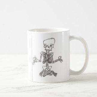 meditating skeleton basic white mug