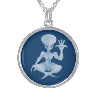 meditation alien charm 001 sterling silver necklace