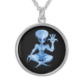 meditation alien charm 011 round pendant necklace