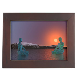 meditation and sun orange keepsake box