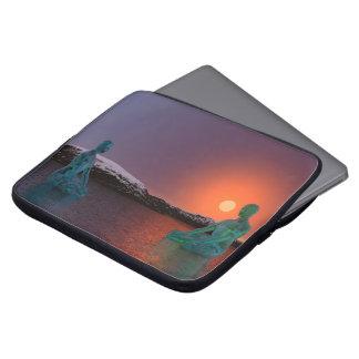 meditation and sun orange laptop sleeve