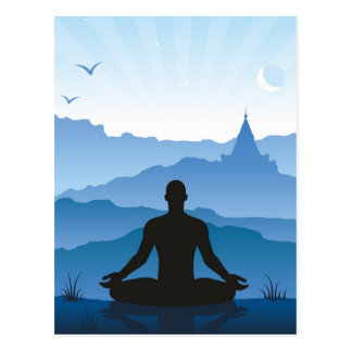 Meditation in the mountains postcard