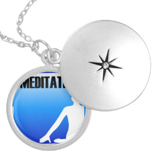 Meditation silhouette of a person silver plated necklace