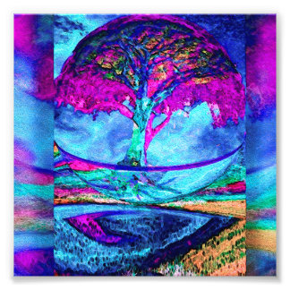 Meditation Tree of Life in Purple Photo Art