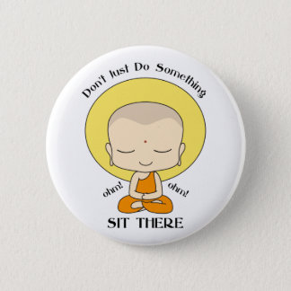 Meditation Yoga Buddhist Monk 6 Cm Round Badge