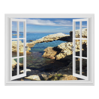 Mediterranean Coast Artificial Window View Poster
