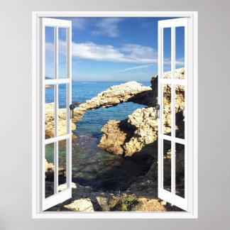 Mediterranean Coast Faux Window View Poster