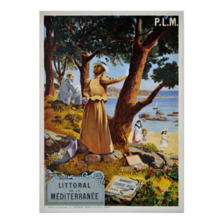 Mediterranean Coastline, France Vintage Travel Poster