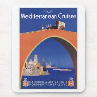 Mediterranean Cruises Ship Line Vintage Travel Mousepads