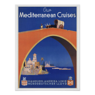 Mediterranean Cruises - Vintage Travel Art Poster
