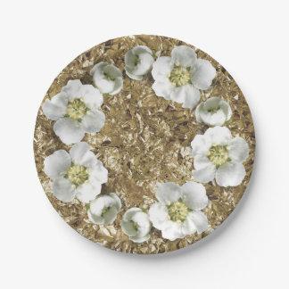 Mediterranean Floral Wreath White Gold Aluminium Paper Plate