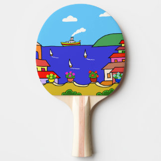 Mediterranean Holiday Ping Pong Paddle