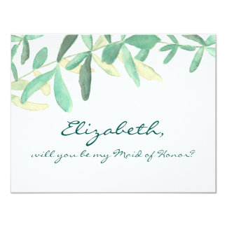 Mediterranean  | Modern Foliage Maid of honor 11 Cm X 14 Cm Invitation Card
