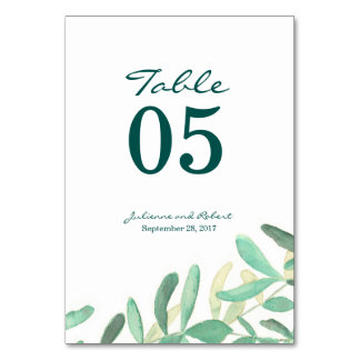 Mediterranean | Modern Foliage Table Number