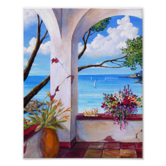 Mediterranean Ocean view Poster