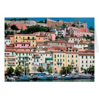 Mediterranean Sea Coast Italy Village and Harbor Card