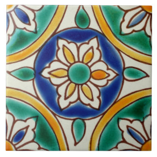 Mediterranean Spanish Flower Ceramic Photo Tile
