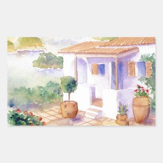 Meditteranean villa Rectangle sticker