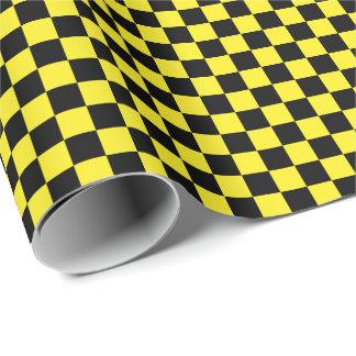Medium Black and Yellow Checks Wrapping Paper