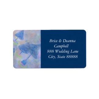 Medium Blue Trees Wedding Address Labels