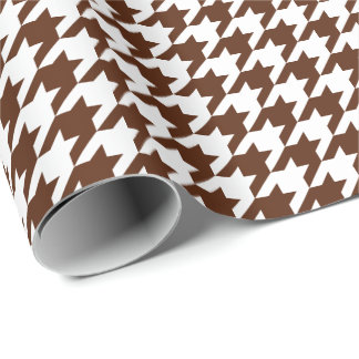 Medium Brown and White Houndstooth Wrapping Paper