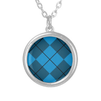 Medium & Dark Blue Argyle Round Pendant Necklace