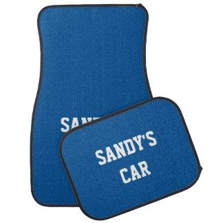 Medium Electric Blue Cool Color Coordinated Name Car Mat