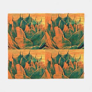 Medium Fleece Blanket - Sonoran Cactus in Orange