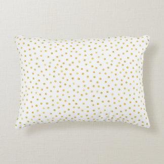 Medium Gold Watercolor Polka Dot Pattern Decorative Cushion