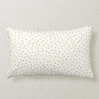 Medium Gold Watercolor Polka Dot Pattern Lumbar Pillow